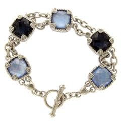 Judith Ripka 925 Sterling Silver Gemstone Doublet Bracelet