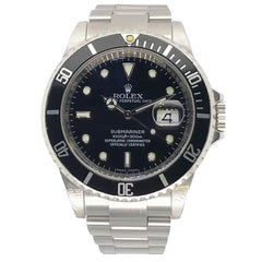 Rolex Stainless Steel 4 Line Submariner Black Bezel and Dial Wristwatch