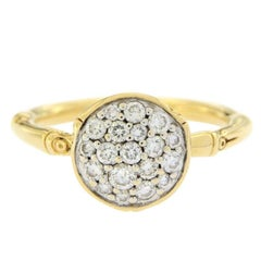 John Hardy 18 Karat Yellow Gold Diamond Metallic Bamboo Ring