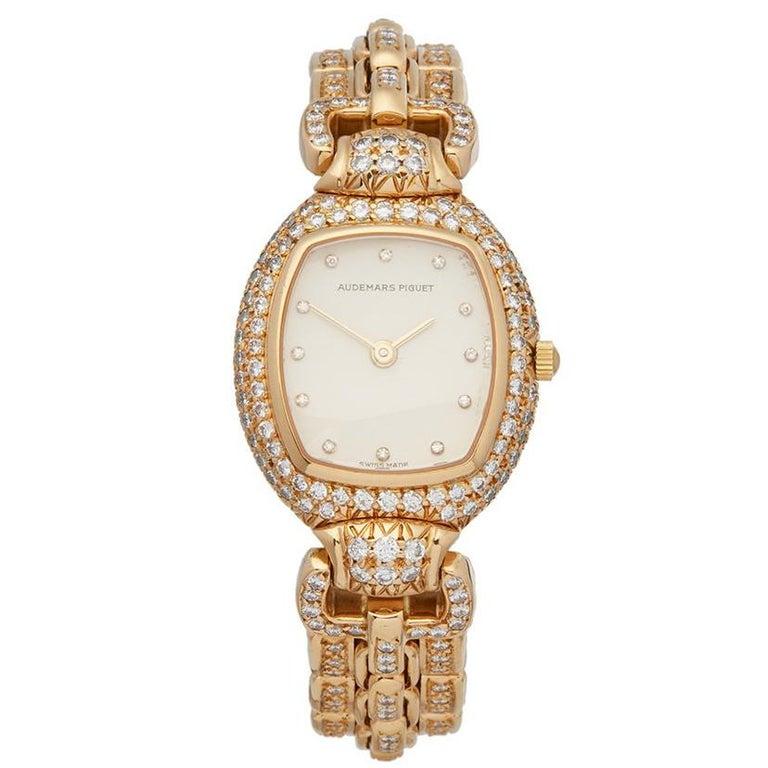 Audemars Piguet Ladies Yellow Gold Factory Diamonds Quartz Wristwatch