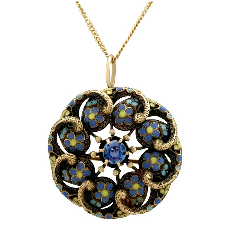 Antique Sapphire and Polychrome Enamel Yellow Gold Pendant Brooch