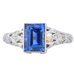 Edwardian 1.37 Carat AGL Unheated Ceylon Sapphire Diamond  Ring