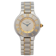 Cartier Must De 21 Stainless Steel and Yellow Gold Plated 1340 or W10073R6