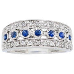 Bezel Set Diamond and Sapphire Anniversary Ring
