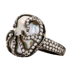 Baroque Fresh Water Pearl-Diamond Encrusted Ring