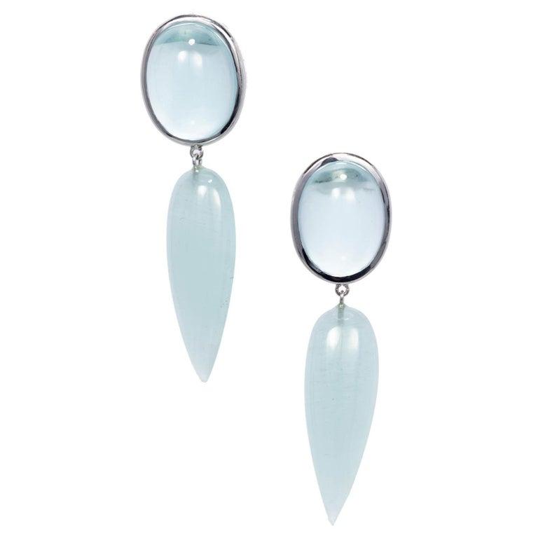 Peter Suchy 74.19 Carat Aquamarine White Gold Dangle Earrings