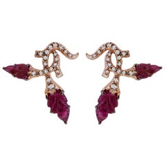 V.A.K. Jewels Natural, No Treat Ruby and Diamond Nature Inspired Stud Earrings