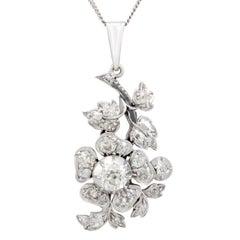 Antique Victorian 3.20 Carat Diamond and Silver Set Pendant