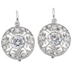 1.91 Carat Total Weight Diamond Filigree Earrings Set in 14 Karat White Gold