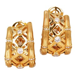 Cartier Gold and Brilliant Round Diamond 'Bamboo' Hoop Earrings, French