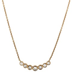 Yellow Gold and Diamond Slanted Curved Bar Pendant Necklace