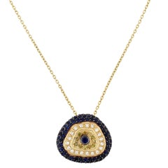 Yellow Gold Evil Eye Odd Shape Pendant Necklace with Diamonds and Sapphires