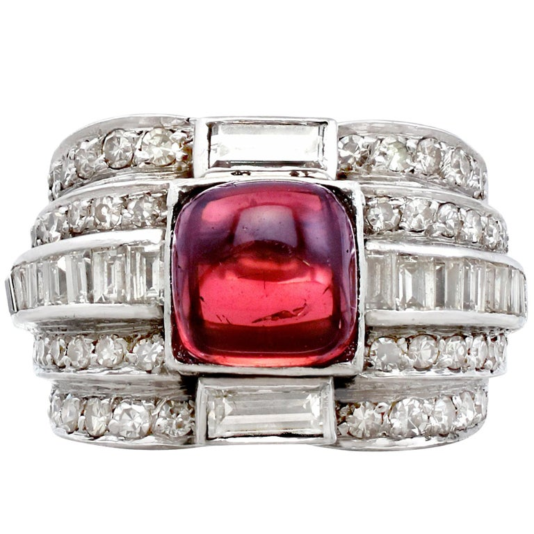 1930s Art Deco 2.21 Carat Tourmaline 1.82 Carat Diamond Platinum Dress Ring