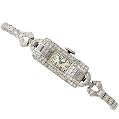 Ladies Art Deco Platinum Diamond Manual Wind Cocktail Wristwatch, 1930s
