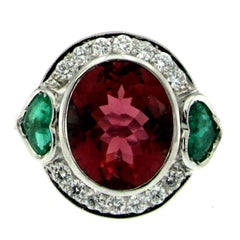 5 Carat Rubellite Red Tourmaline Heart Emerald Diamond Gold Ring