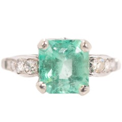 1930s Art Deco 2 Carat Emerald, Diamond, Platinum Ring