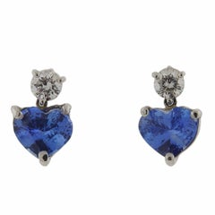 Platinum 4.90 Carat Cornflower Blue Sapphire Diamond Heart Earrings