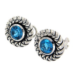 Scott Kay 925 Sterling Silver Blue Topaz Earrings