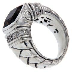 Scott Kay 925 Sterling Silver Diamonds Smoke Topaz Ladies Ring