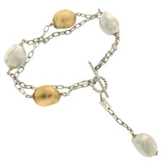 Roberto Coin 18 Karat White Gold Silver and Golden Pearl Bracelet