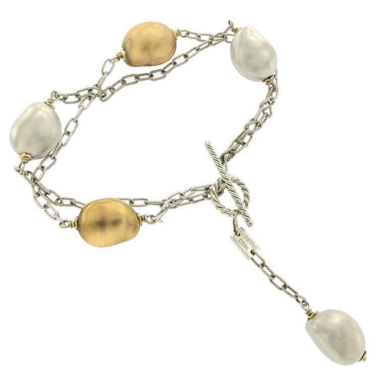Roberto Coin 18 Karat White Gold Silver and Golden Pearl Bracelet