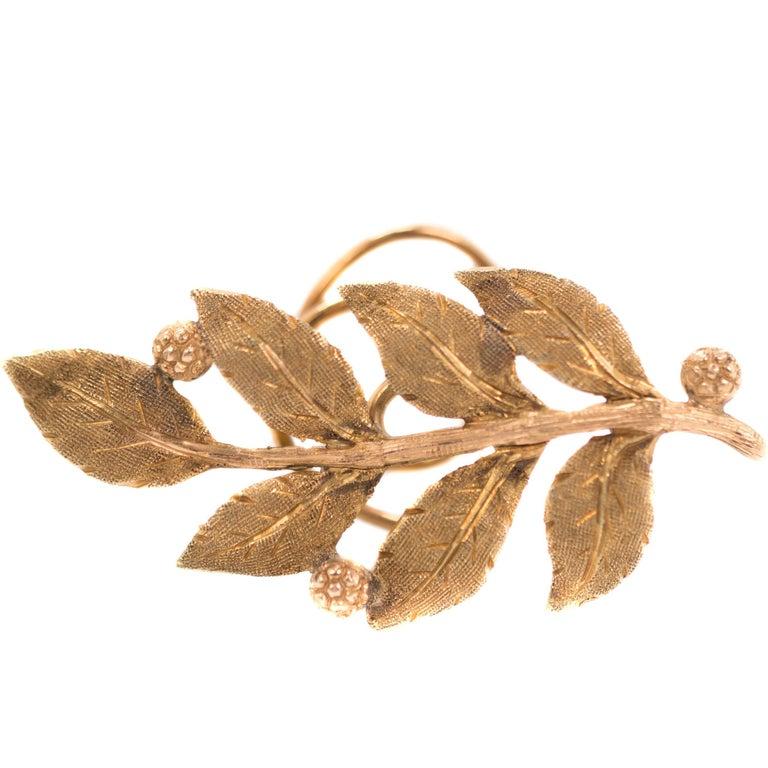 1940s Buccellati Leaf Lapel Pin Brooch, 18 Karat Yellow Gold