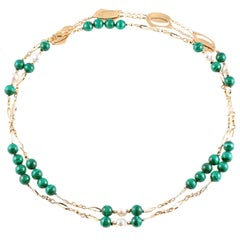 Malachite Fresh Water Pearl Yellow Gold Necklace