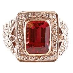 Two-Tone Pink Tourmaline Diamond Ring