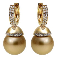 Yoko London Golden South Sea Pearl and Diamond Earrings Set in 18 Karat Gold