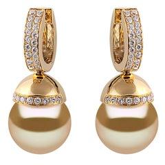 Yoko London Golden South Sea Pearl and Diamond Earrings Set in 18 Karat Gold