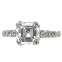 2.01 Carat F VS1 GIA Certified Asscher Cut Diamond Platinum Engagement Ring