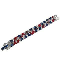 Art Deco Diamond, Carved Sapphire and Ruby Tutti Frutti Bracelet