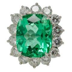 Gubelin Certified 10.76 Carat Columbian Cushion Shaped Emerald And Diamond Ring