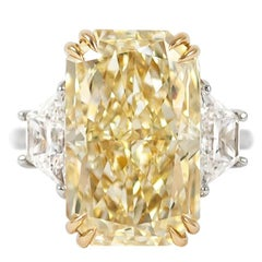 J. Birnbach GIA Certified 12.26 Fancy Yellow Radiant Diamond Three-Stone Ring