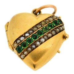 Vintage Victorian 14 Karat Gold Pearl Demantoid Heart Locket Pendant