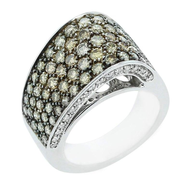 Brown and White Diamond Asymmetrically Curved Ring, 18 Karat White Gold