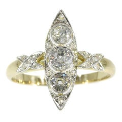 Belle Epoque Three Diamond 14 Karat Yellow Gold Marquise Engagement Ring, 1920s