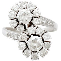 1970s 2.40 Carat Diamond and White Gold Twist Ring