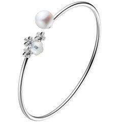 Fei Liu 18 Karat Mother-of-Pearl, Diamond-Set Flower White Gold Bangle/Bracelet