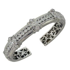 Stambolian White Gold and Diamond Bangle Bracelet