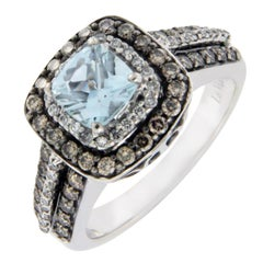 Levian 14 Karat Gold Chocolate White Diamond Blue Topaz Engagement Ring