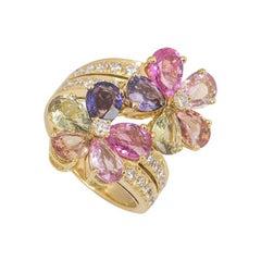 Bvlgari Diamond Sapphire Flower Ring