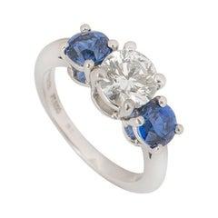 Tiffany & Co. Platinum Diamond and Sapphire Ring 1.06 Carat
