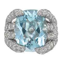 "Verdura Aquamarine Diamond ""Eight Blades"" Ring"