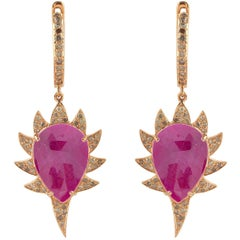 Meghna Jewels Claw Rubellite and Diamonds Drop Earrings