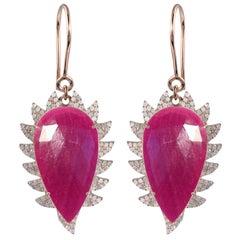 Meghna Jewels Claw Drop Earrings Rubellite and Diamonds