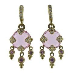 Diamond Pink Quartz Gemstone Gold Earrings