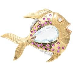1950s Retro Aquamarine Ruby Diamond 14 Karat Gold Platinum Fish Brooch