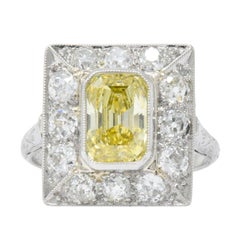Art Deco 2.97 Fancy Intense Yellow Diamond, Diamond Platinum Engagement Ring GIA