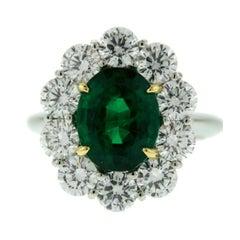 3.29 Carat Emerald Diamond Halo Princess Diana Engagement Ring
